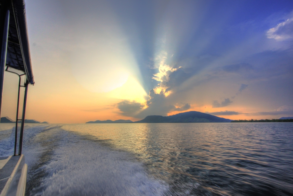 Sunset while sailing towards Borneo