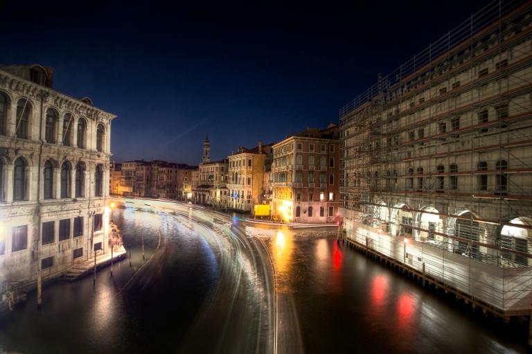 Long exposure boats Rialto bridge Venice